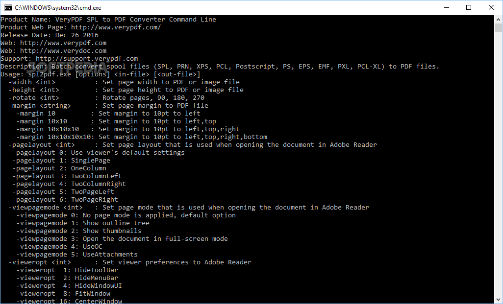 Download VeryPDF SPL to PDF Converter Command Line 2 0 0 1