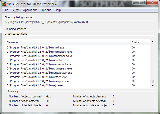 Virus Remover for Packed.Protector.C screenshot 1 - This is the main window of Virus Remover for Packed.Protector.C that allows you to scan and remove the virus infection automatically.