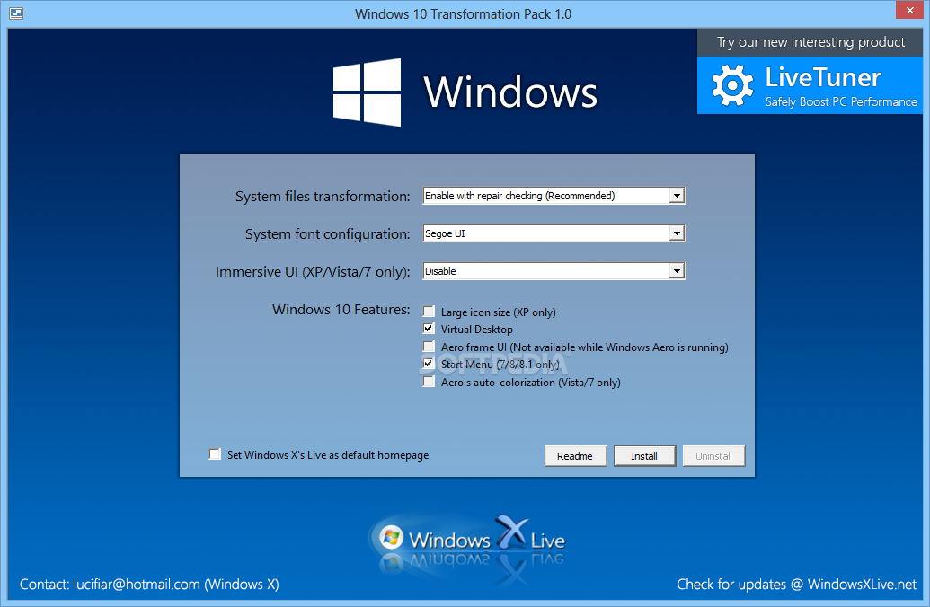 Windows 8 Transformation Pack screenshot 1 - Windows 8 Transformation Pack allows you to select the font and UI you want to use.
