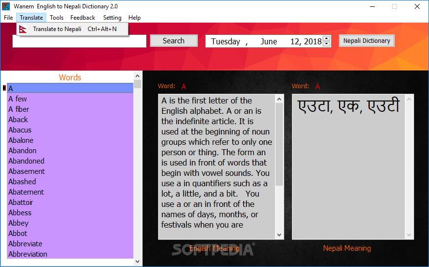 Wanem English To Nepali Dictionary