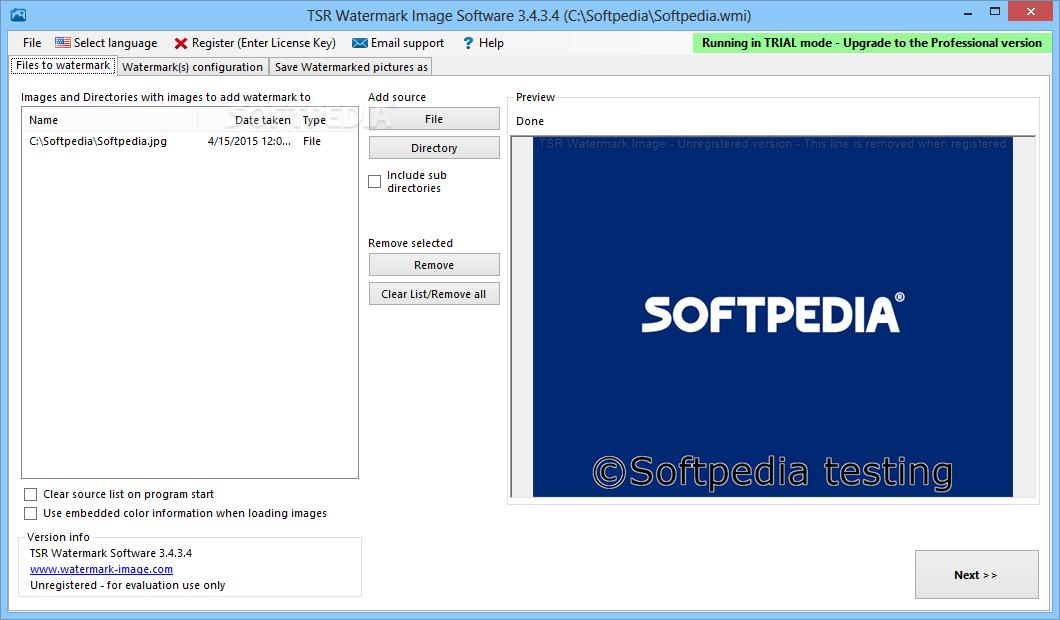 tsr watermark image software license key