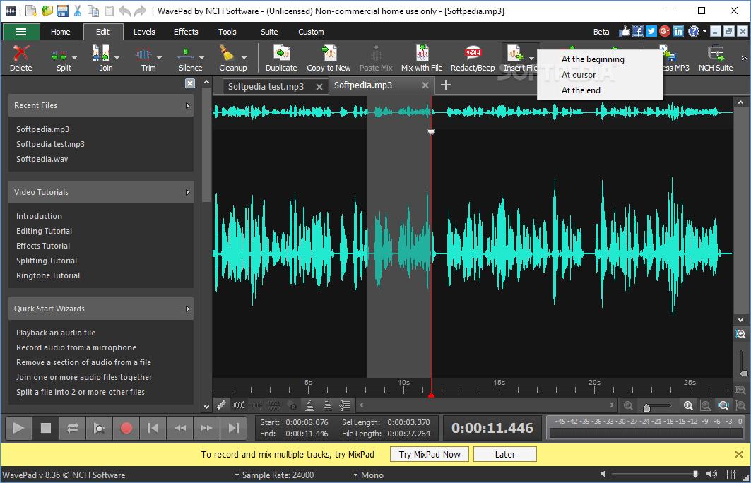 o programa wavepad sound editor