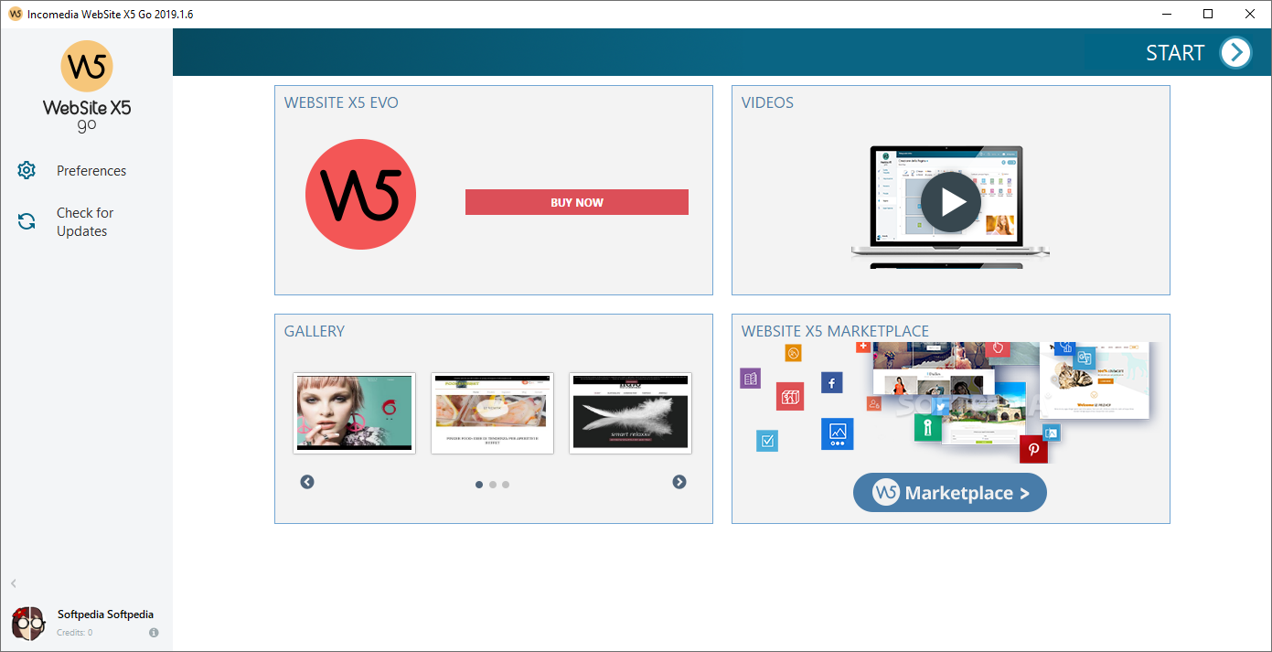 WebSite X5 Free screenshot 1 - The main window of WebSite X5 Free allows you to set the name of the project.
