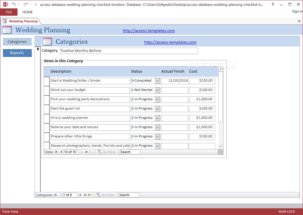 Download Wedding Planning Checklist Access Database Templates 1 0