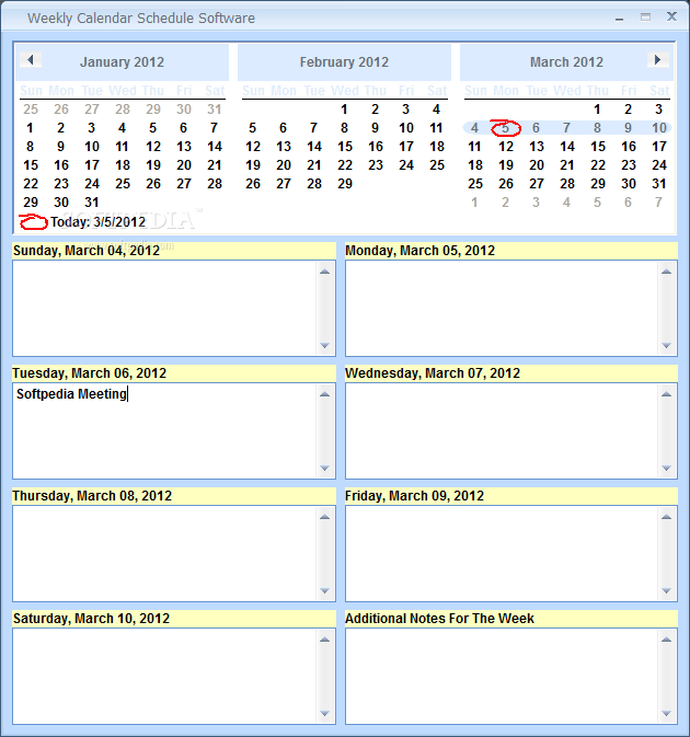 Calendar Diy Software : Weekly calendar schedule software download