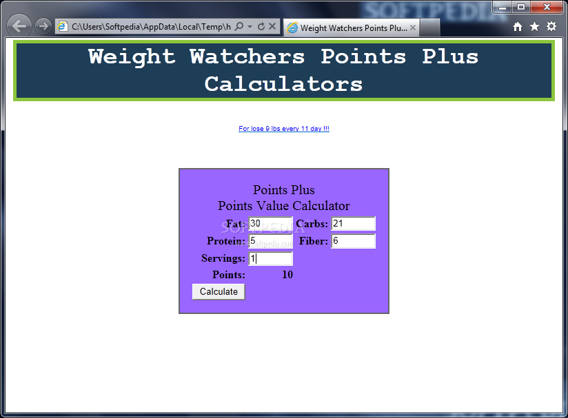 Download Weight Watcher Points Plus Calculator 10