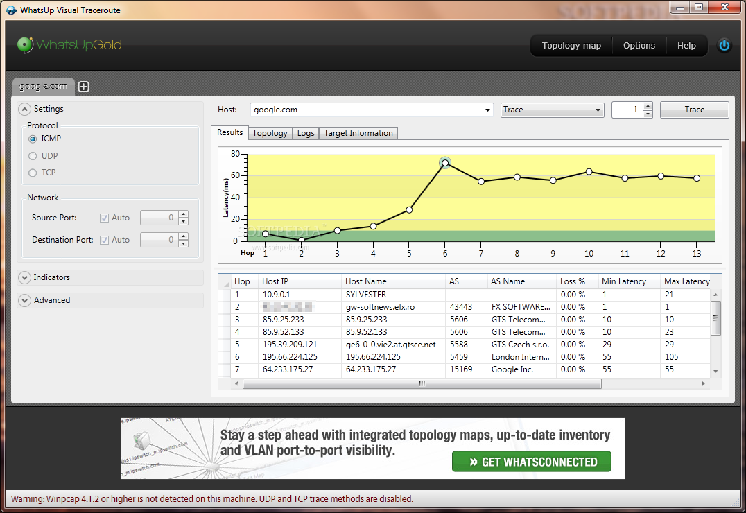 Download WhatsUp Visual TraceRoute 1 0 0 101