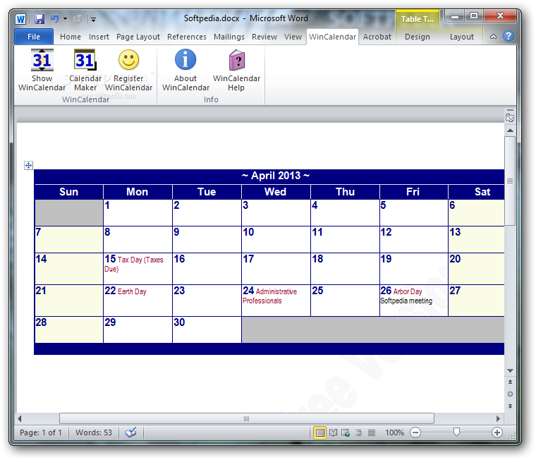 download word calendar