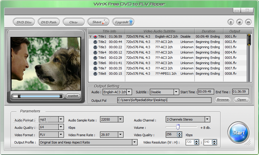 WinX Free DVD to FLV Ripper screenshot 1 - The  main window of WinX Free DVD to FLV Ripper allows users to load the disc they want to work with