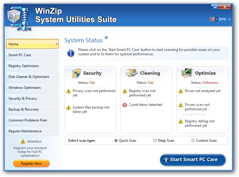 WinZip System Utilities Suite screenshot 1 - From the man window of WinZip System Utilities Suite you can access all the features of the application.