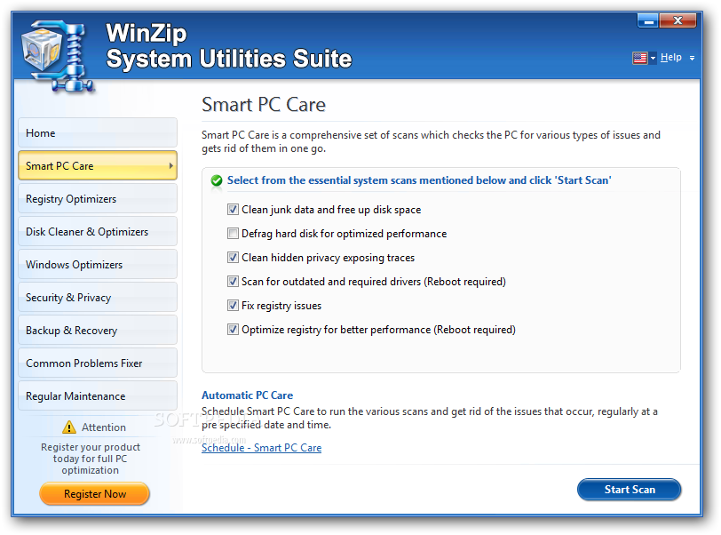 WinZip System Utilities Suite screenshot 2 - The Smart PC Care component of WinZip System Utilities Suite makes sure your computer stays free of any problems.