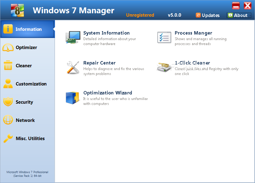 ����� ����� ������ 7 ������ ������� Windows 7 Manager 4.1.8 Final