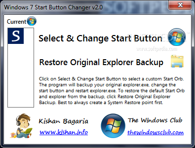 Windows 7 Start Button Changer screenshot 1 - This is the main window of the application where you can choose the orb you want to apply