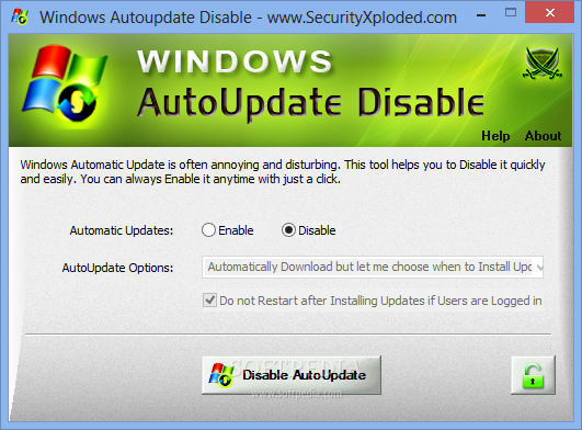 Download Windows AutoUpdate Disable 3 0