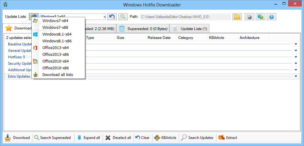 Windows Hotfix Downloader screenshot 3 - Users can select the latest lists and send them to the download queue with a single click.