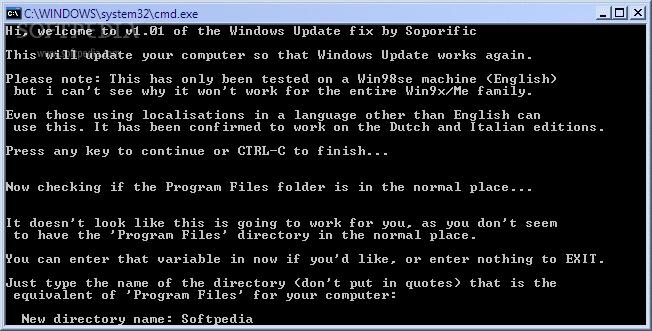 Download Windows Update Fix for Win9x/ME 1 21