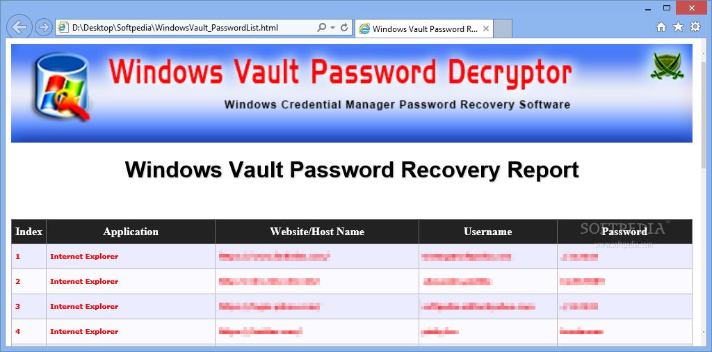 Download Windows Vault Password Decryptor Portable 1 0