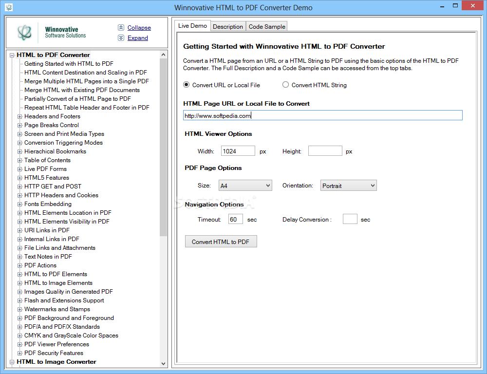 Download Winnovative HTML to PDF Converter 14 5