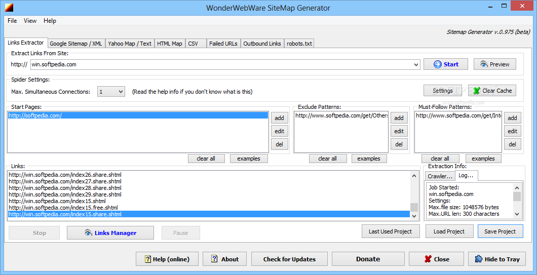 download wonderwebware sitemap generator 0 975 beta