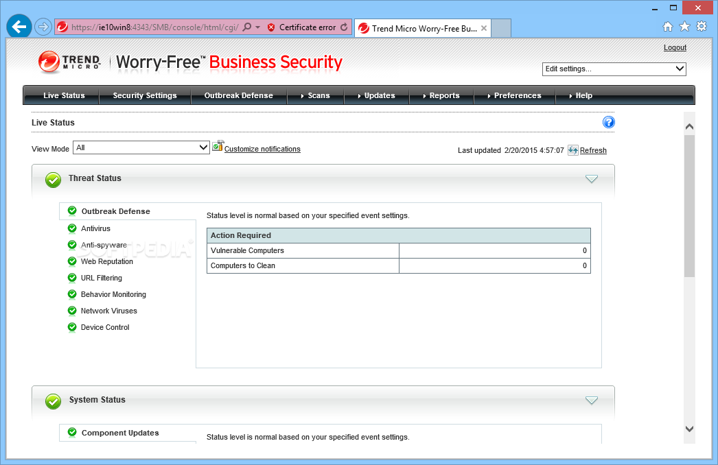 Trend micro worry free business security client not updating