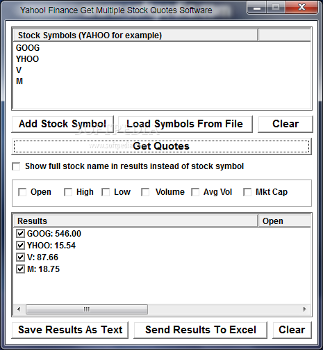 You can easily view the selected symbols quotation in the main window ...
