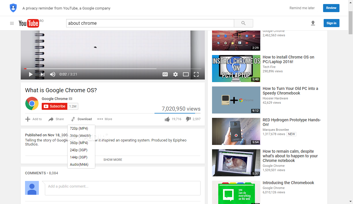 Add On Google Chrome Youtube Video Downloader