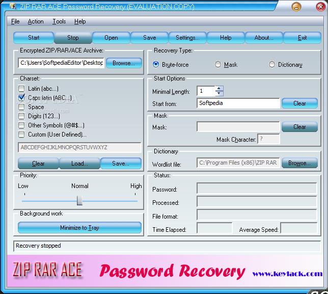 Download ZIP RAR ACE Password Recovery 2 70 69