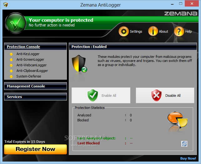 Zemana AntiLogger [DISCOUNT: 25% OFF!] screenshot 1 - This is the main window of Zemana AntiLogger where you can view the protection status for your computer.