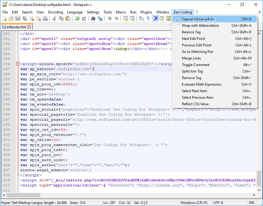 Download Zen Coding for Notepad++ 0 7