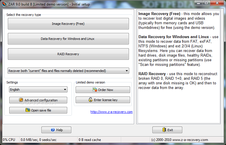 Zero Assumption Recovery 1 ZAR Usb, Hafıza Kartından Silinen Dosyaları Kurtarma Programı