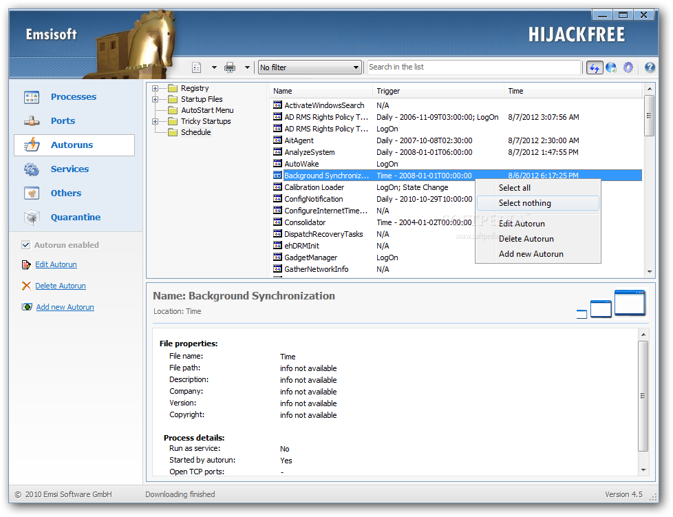 Emsisoft HiJackFree screenshot and download at SnapFiles.com
