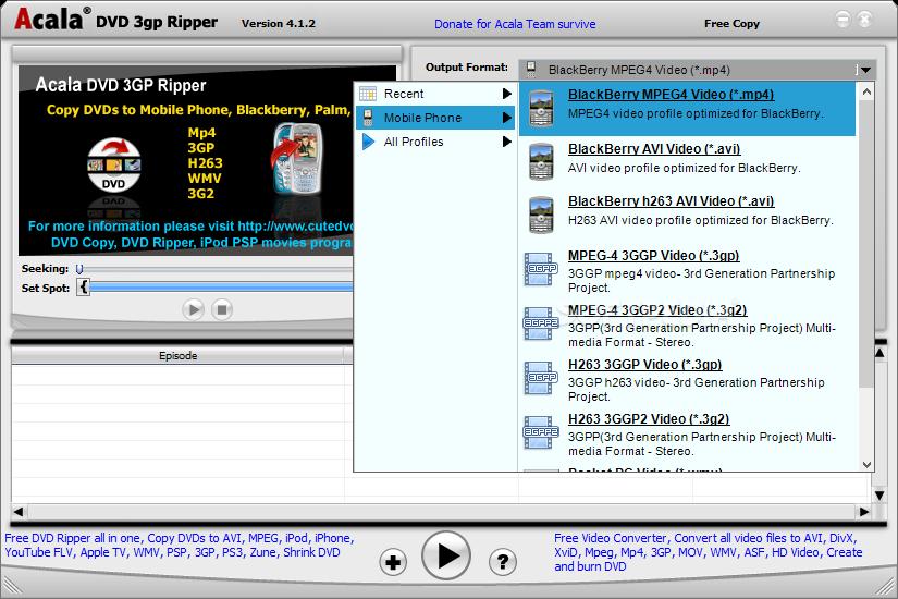 Acala DVD 3GP Ripper 64 Bit