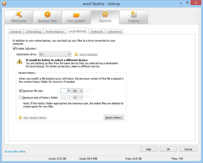 avast settings backup