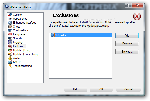 avast how to add an executable to exeptions