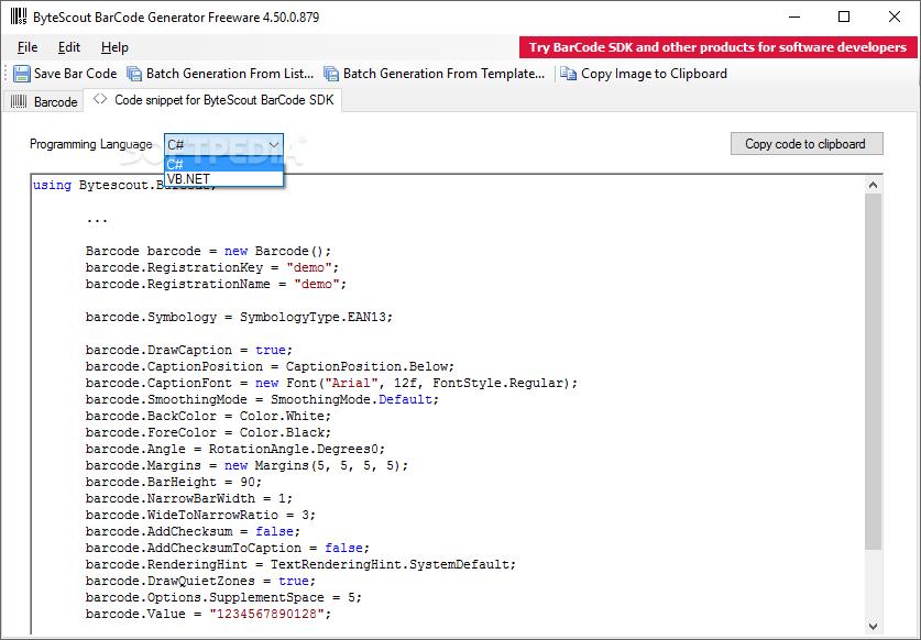 Download ByteScout BarCode Generator 5 1 2 1061