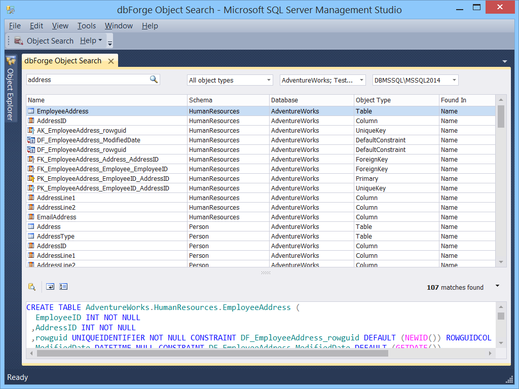 Dbforge search for sql server download - How to find a table in sql server management studio ...