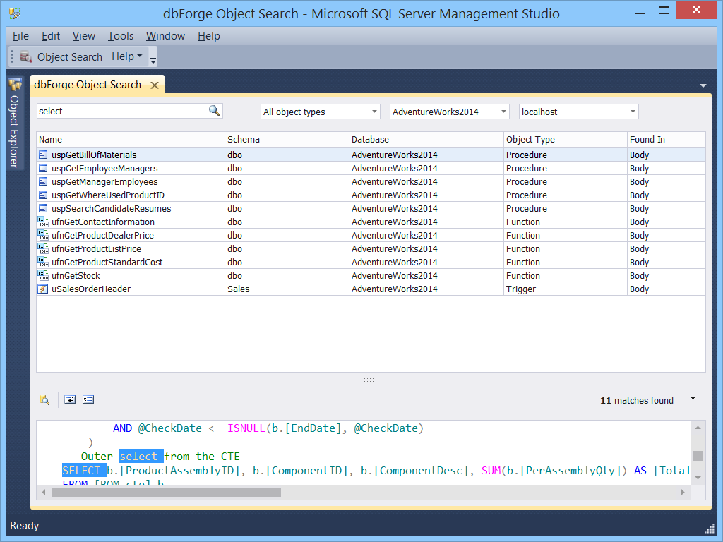 Download dbForge Search for SQL Server 2.4.72