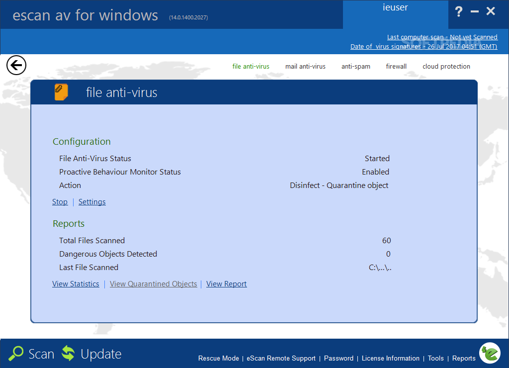 Escan antivirus  spyware toolkit utility  120 mb