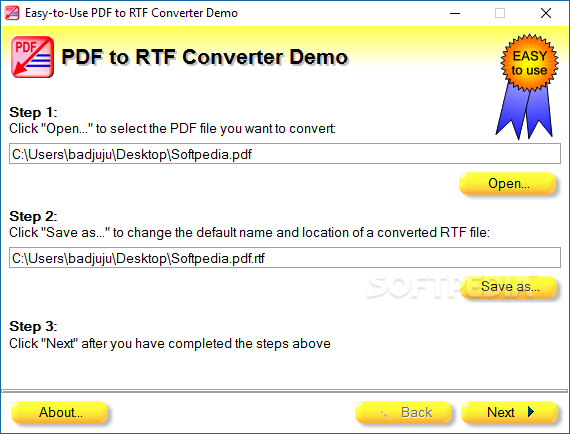 Download Easy-to-Use PDF to RTF Converter 2010