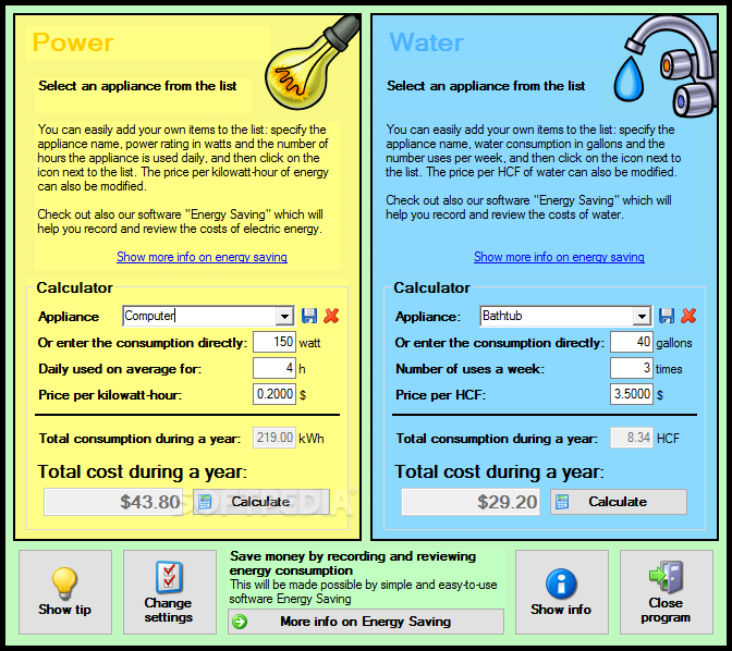 Energy Costs Calculator Calculate And Water Consumption Based On The Liance You