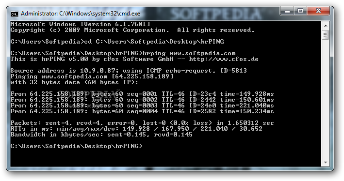 hrPING screenshot 1 - Through the use of Command Prompt, hrPING can help you send ping commands to a specific host