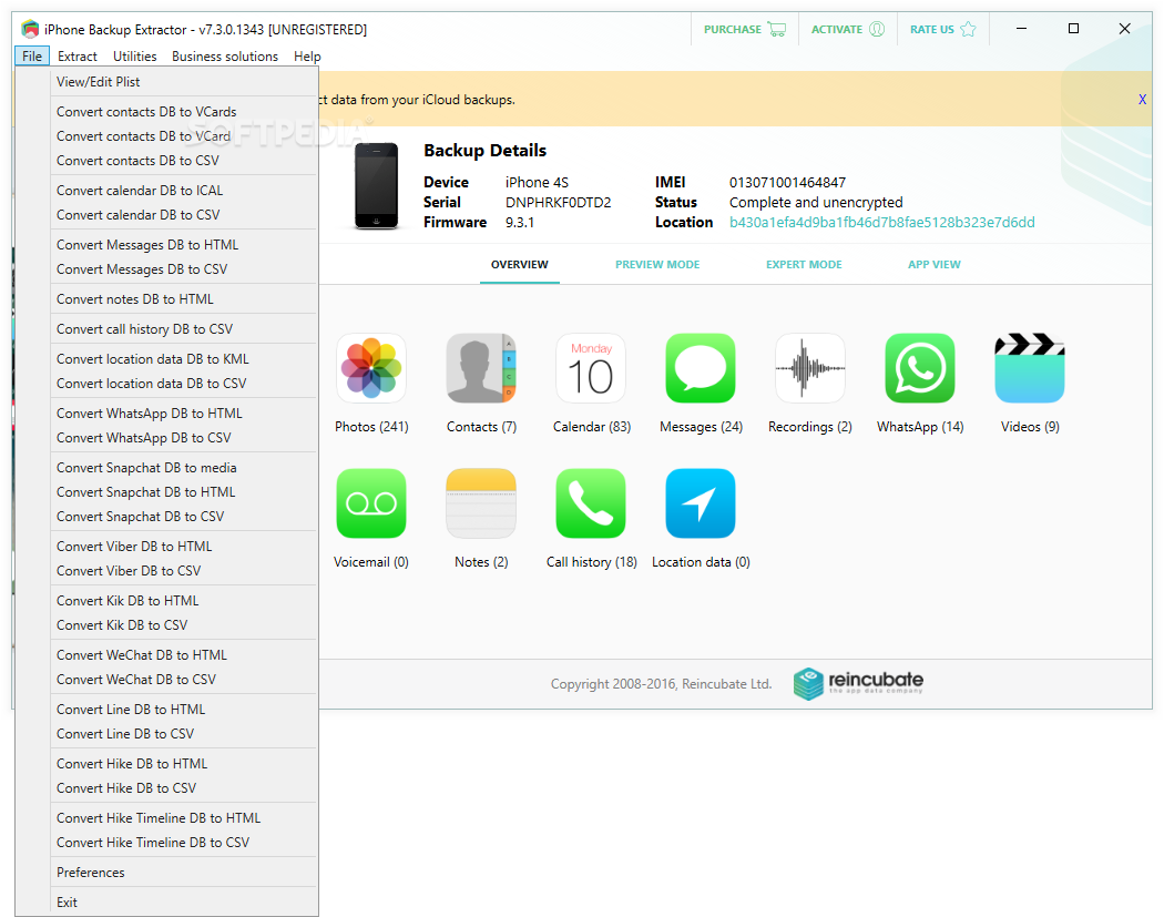 Download iPhone Backup Extractor 7 6 19 Build 2102