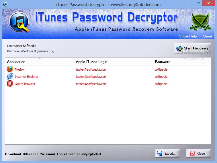 Download iTunes Password Decryptor 6 0