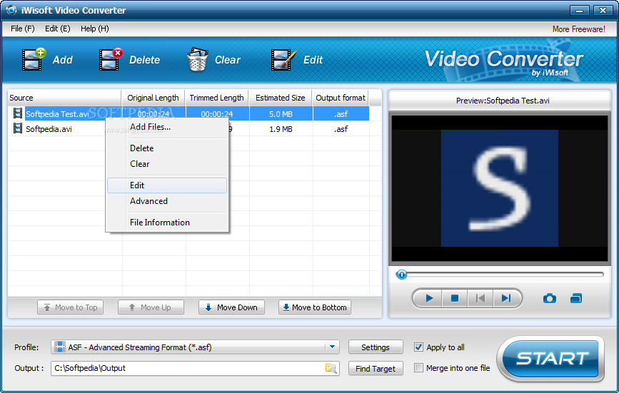 Screenshot 1 of iWisoft Free Video Converter