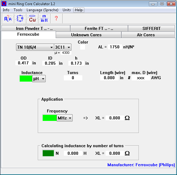 mini Ring Core Calculator screenshot 3 - The Ferroxcube tab enables you to easily customize the frequency and inductance of your element.