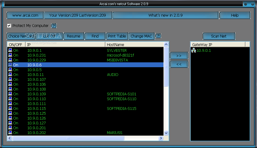 netcut screenshot 1 - netcut is a handy application designed to detect the IP/MAC address and control the network usage.