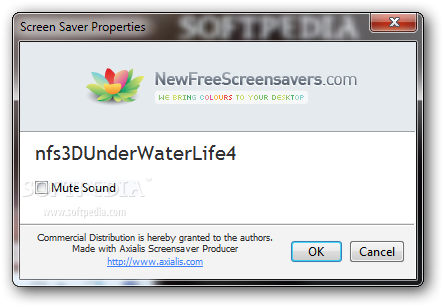 nfs3DUnderWaterLife4 screenshot 2 - You can choose to disable the sound from the Screen Saver Properties window found in the software.