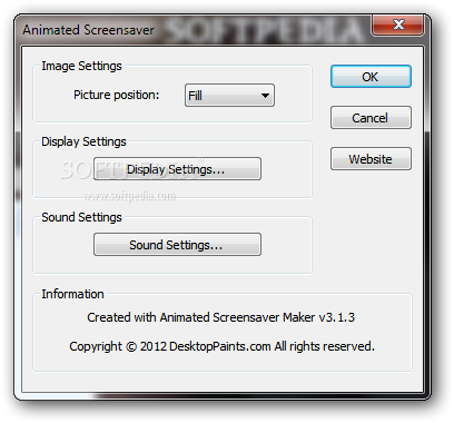 nfsAutumnalReflection screenshot 2 - You can choose to adjust the display and sound settings from the Animated Screensaver window.