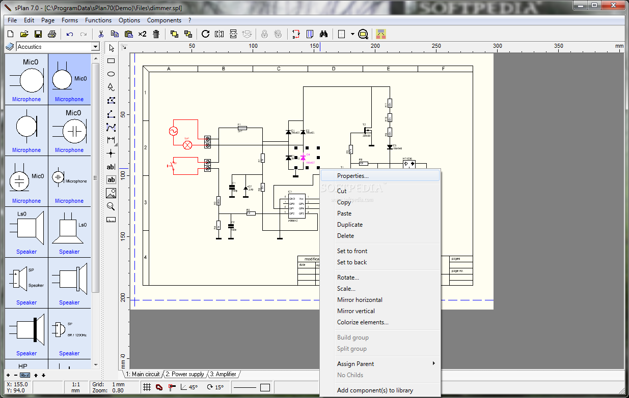 splan - the main window of splan  create a new circuit diagrams or edit an