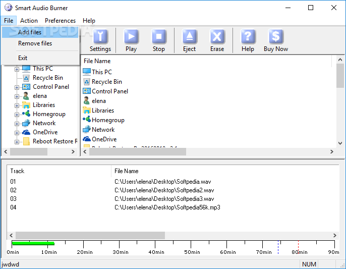how to add files to free audio cd burner